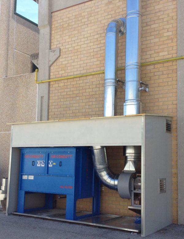filtro OIL-STOP con ventilatore installato in box