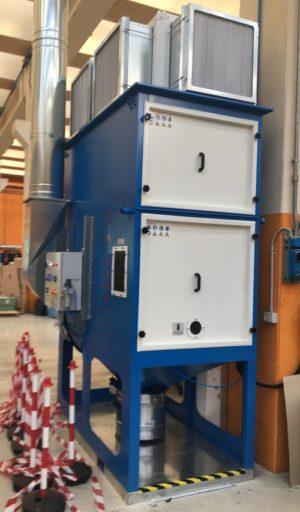 impianto aspirazione polveri carboni attivi